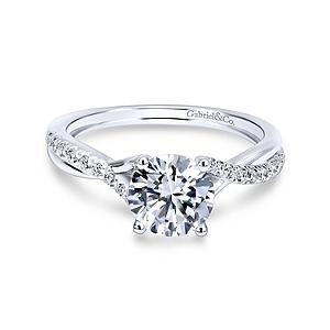 Gabriel&Co: 14 Karat White Gold Criss Cross Semi-Mount Ring With 20=0.15Tw Round G/H Si1-2 Diamonds