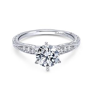 Gabriel&Co: 14 Karat White Gold Vintage Inspired Semi-Mount Ring With 6=0.09Tw Round G/H Si1-2 Diamonds