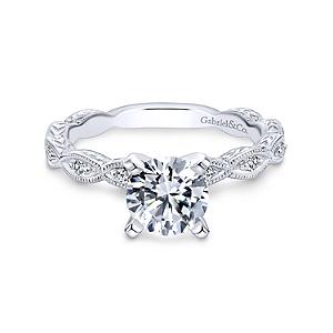 Gabriel&Co:  White 14 Karat Semi Mount Ring With 10=0.12Tw Round G/H Si1-2 DiamondsSerial #: S1040265