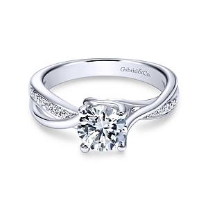 Gabriel&Co: 14 Karat White Gold Twisted Semi-Mount Ring With 14=0.14Tw Round G/H Si1-2 Diamonds
