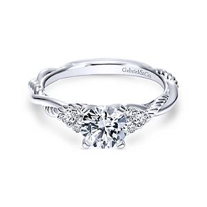 Gabriel&Co: 14 Karat White Gold Twisted Semi-Mount Ring With 6=0.13Tw Round G/H Si1-2 Diamonds