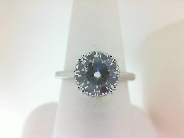 Verragio: 14 Karat White Gold Tradition Semi-Mount Ring With .10Tw Round Diamonds For 8mm Center