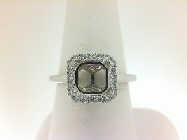 Natalie K: 18 Karat White Gold Semi-Mount Ring With.18Tw Round Diamonds