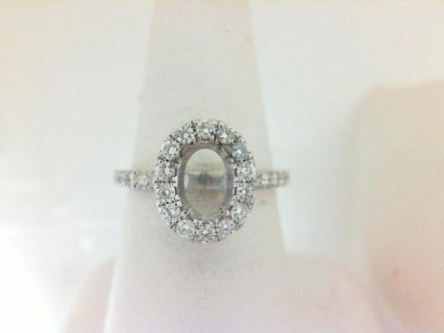 14 Karat White Gold Semi-Mount Ring  28=0.52Tw Round Diamonds
