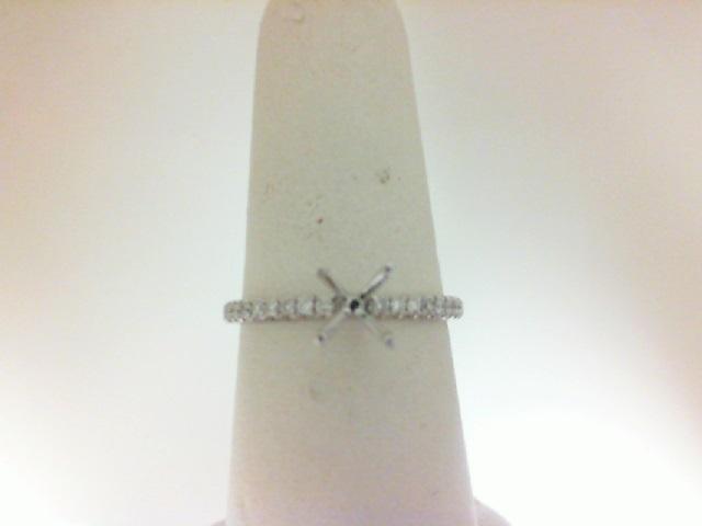 14 Karat White Gold Semi-Mount Ring  With 16=0.13Tw Round Diamonds