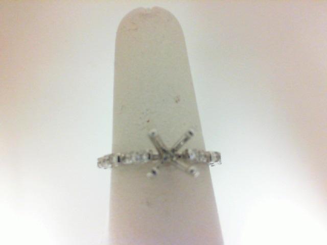 14 Karat White Gold Semi-Mount Ring  With 16=0.29Tw Round Diamonds