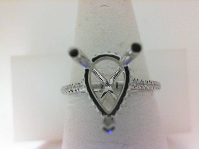 14 Karat White Gold  Semi-Mount Ring With 48=0.21Tw Round Diamonds