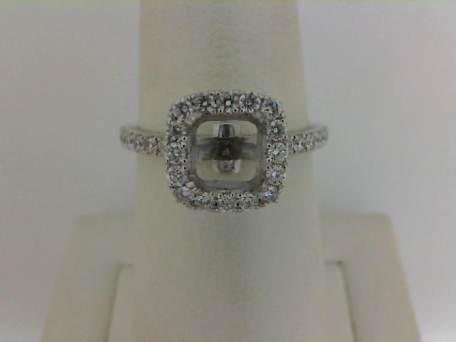 14 Karat White Gold  Semi-Mount Ring  With 32=0.43Tw Round Diamonds