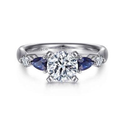 Gabriel&Co: 14 Karat White Gold Semi-Mount With 2=0.59Tw Pear Sapphires And 2=0.10Tw Round G/H SI1-2 Diamonds