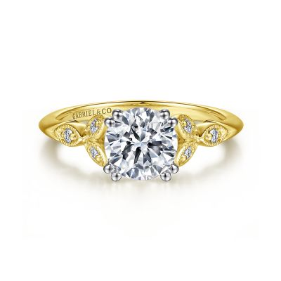 Gabriel&Co: 14 Karat White-Yellow Gold Victorian Diamond Semi-Mount Ring 0.07Tw