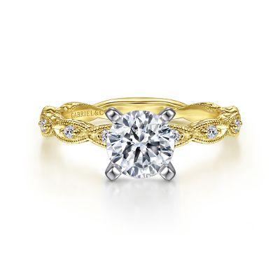 Gabriel&Co: 14 Karat Yellow Gold Engraved Semi-Mount With 10=0.12Tw Round G/H SI1-2 Diamonds
