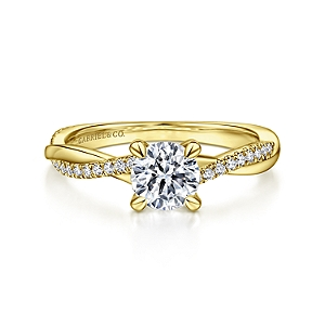 Gabriel&Co: 14 Karat Yellow  Gold Round Twisted Diamond Engagement Ring 0.15Tw