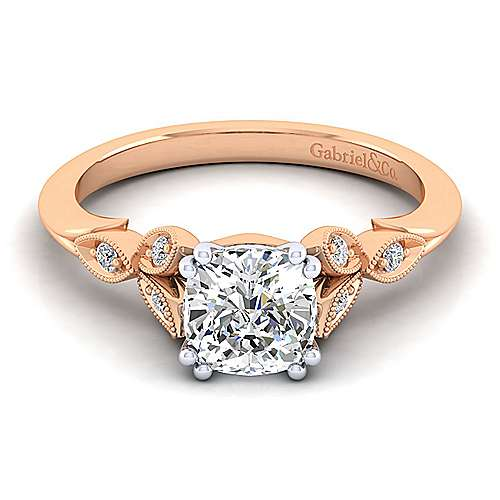 Gabriel&Co: 14 Karat White/Rose Gold Victorian Milgrain Semi-Mount Ring With 0.07Ctw Size 6.5Center Size: 6.5 mm