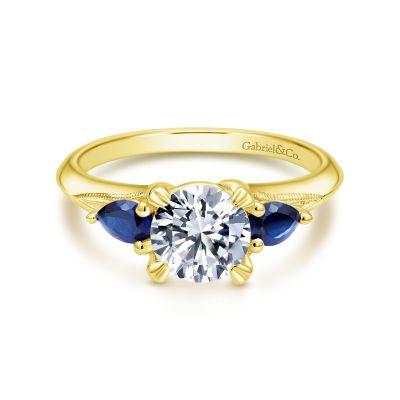 Gabriel&Co: 14 KaratYellow Gold  Semi-Mount Ring Size 6.5 With 2=0.35Tw Pear Sapphires