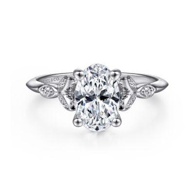 Gabriel&Co: 14 Karat White Gold  Semi-Mount Ring Size 6.5 With 6=0.07Tw Round G/H Si1-2 Diamonds