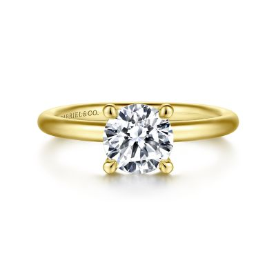 Gabriel&Co: 14 Karat Yellow Gold Solitaire Ring Size 6.5