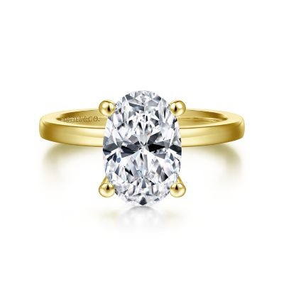 Gabriel&Co: 14 Karat Yellow Gold Solitaire Ring Size 6.5Center Size: Oval10.5X7mm