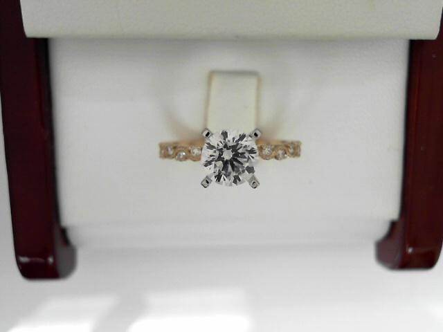 14 Karat Yellow/White Gold Milgrain Semi-Mount Ring Size 6.5 12=0.19tw Round Round Brilliant Diamonds