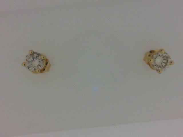 14 Karat Yellow Gold  Stud Earrings With 2=0.38Tw Round  Diamonds