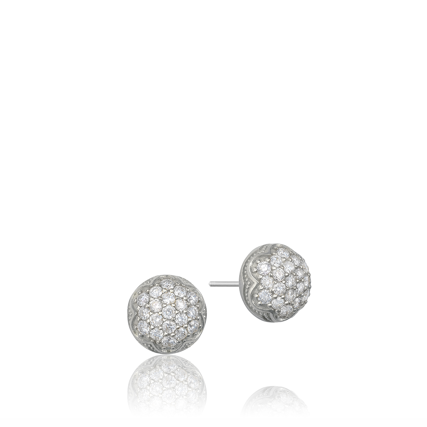 Tacori:  Sterling Silver Engraved Stud Earrings With 0.80Tw Round Diamonds Style Name: Sonoma Mist- Dewdrop Stud