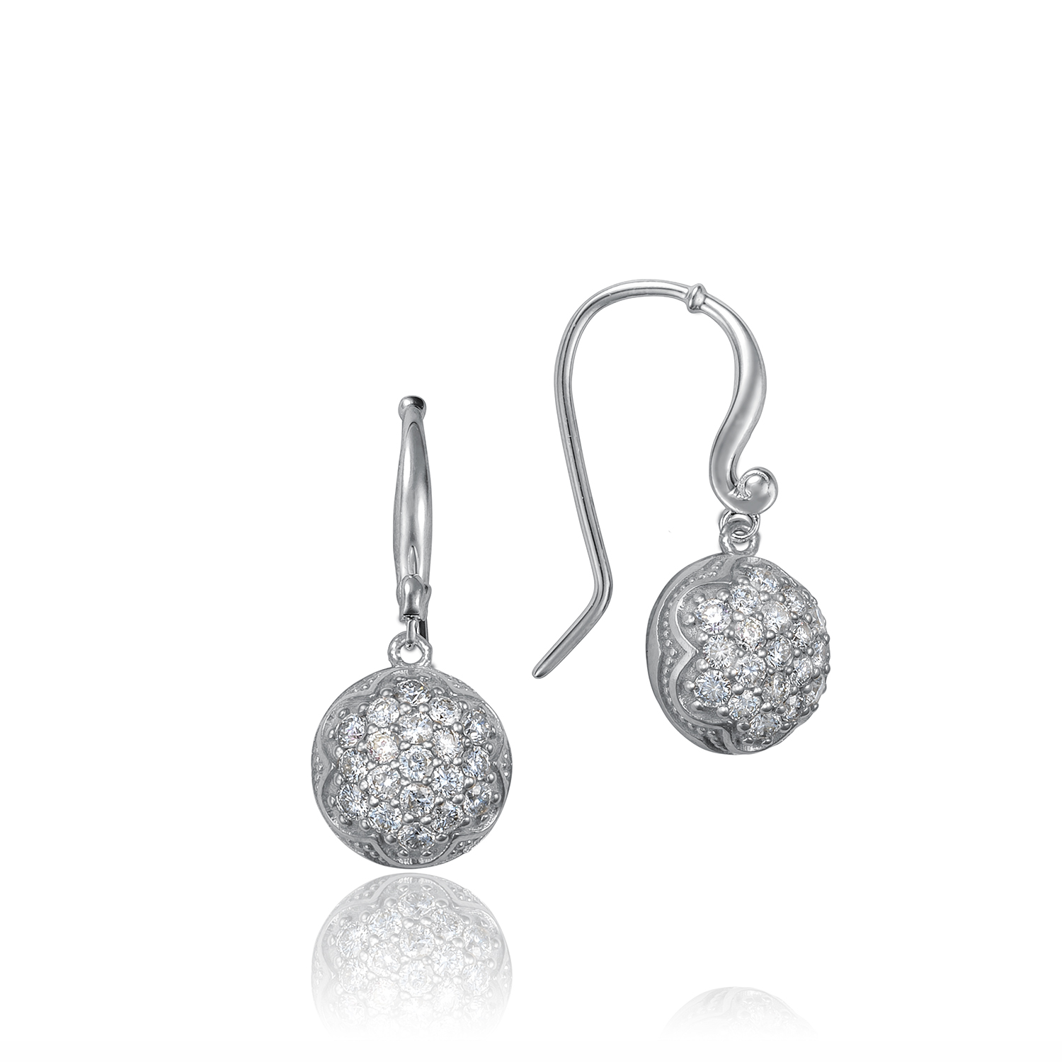 Tacori:  Sterling Silver Engraved Drop Earrings With 0.80Tw Round Diamonds Style Name: Dew Drop