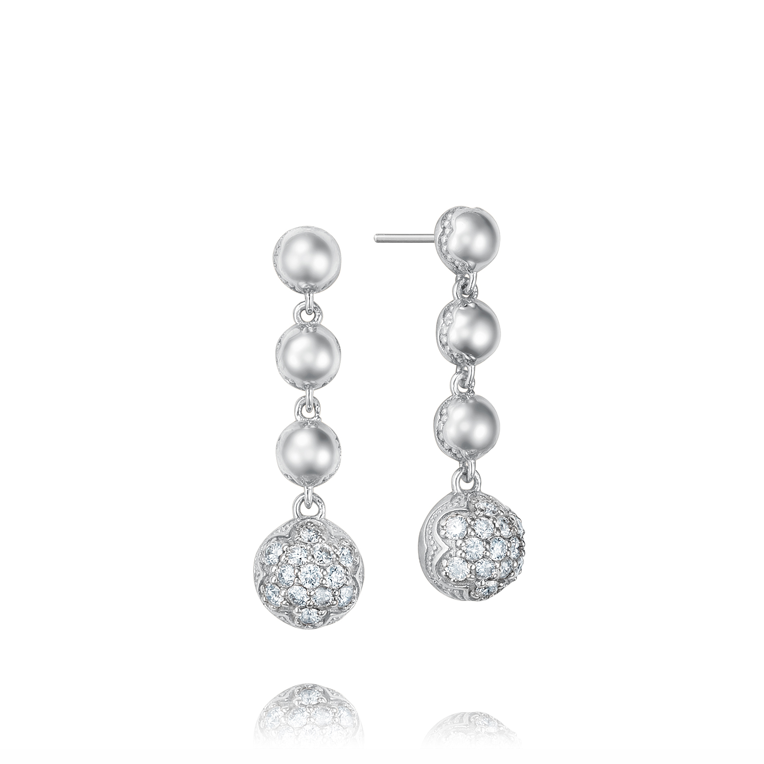 Tacori: Sterling Silver Earrings With 0.40Tw Round Diamonds Style Name: Sonoma Mist Cascading Drops Earrings
