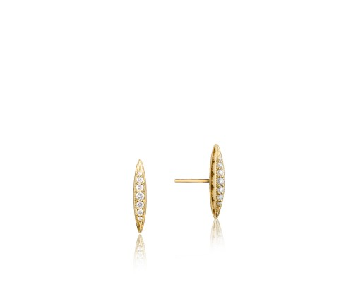 Tacori: 18 Karat  Yellow Gold Earrings With 0.14Tw Round Diamonds Style Name: Ivy Lane Pave' Marquise Stud