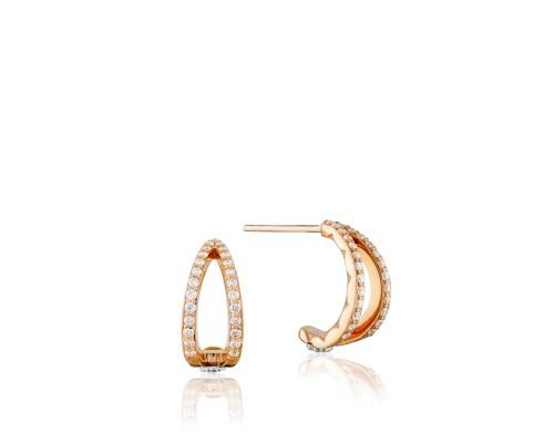 Tacori: 18 Karat  Rose Gold  Earrings With 0.28Tw Round Diamonds Style Name: Ivy Lane Pave Crossroad