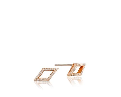 Tacori: 18 Karat Rose Gold Earrings With 0.18Tw Round Diamonds Style Name: Ivy Lane Pave Chevron Serial #: 2068037
