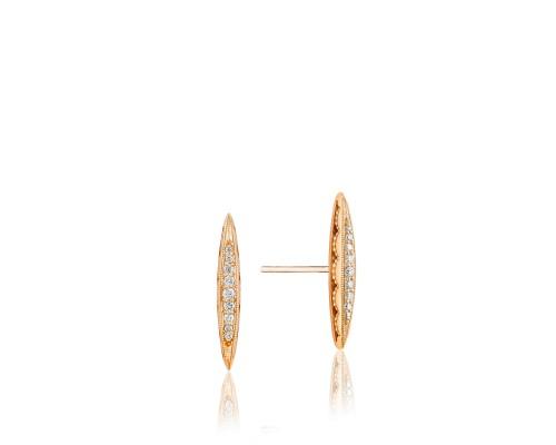 Tacori:  18 Karat Rose Earrings With 0.11Tw Round Diamonds Style Name: Ivy Lane Bold Pave Surfboard