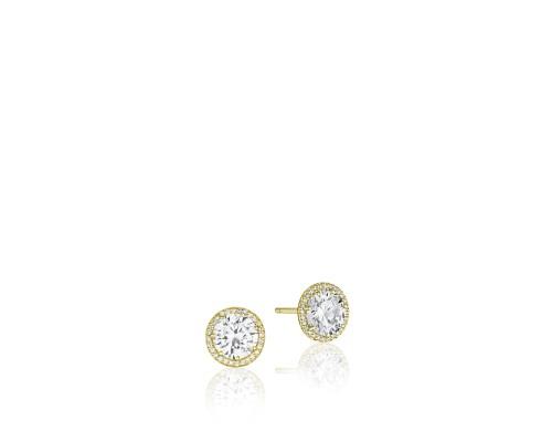 Tacori:  18 Karat Yellow Gold Earrings With 0.18Tw Round Diamonds 6mm  CZ Centers (Semi-Mounts)