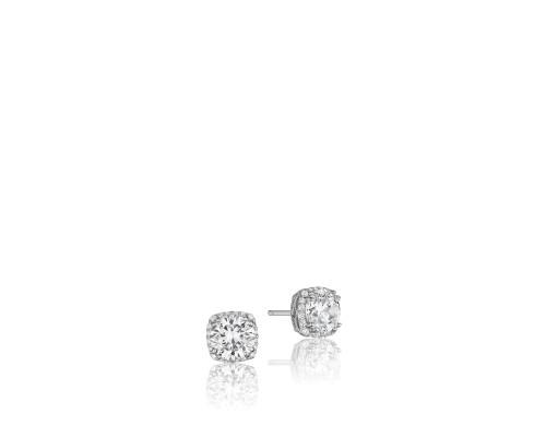 Tacori: 18 Karat White Gold Earrings With 0.16Tw Round Diamonds  6 mm CZ (Semi-Mounts)