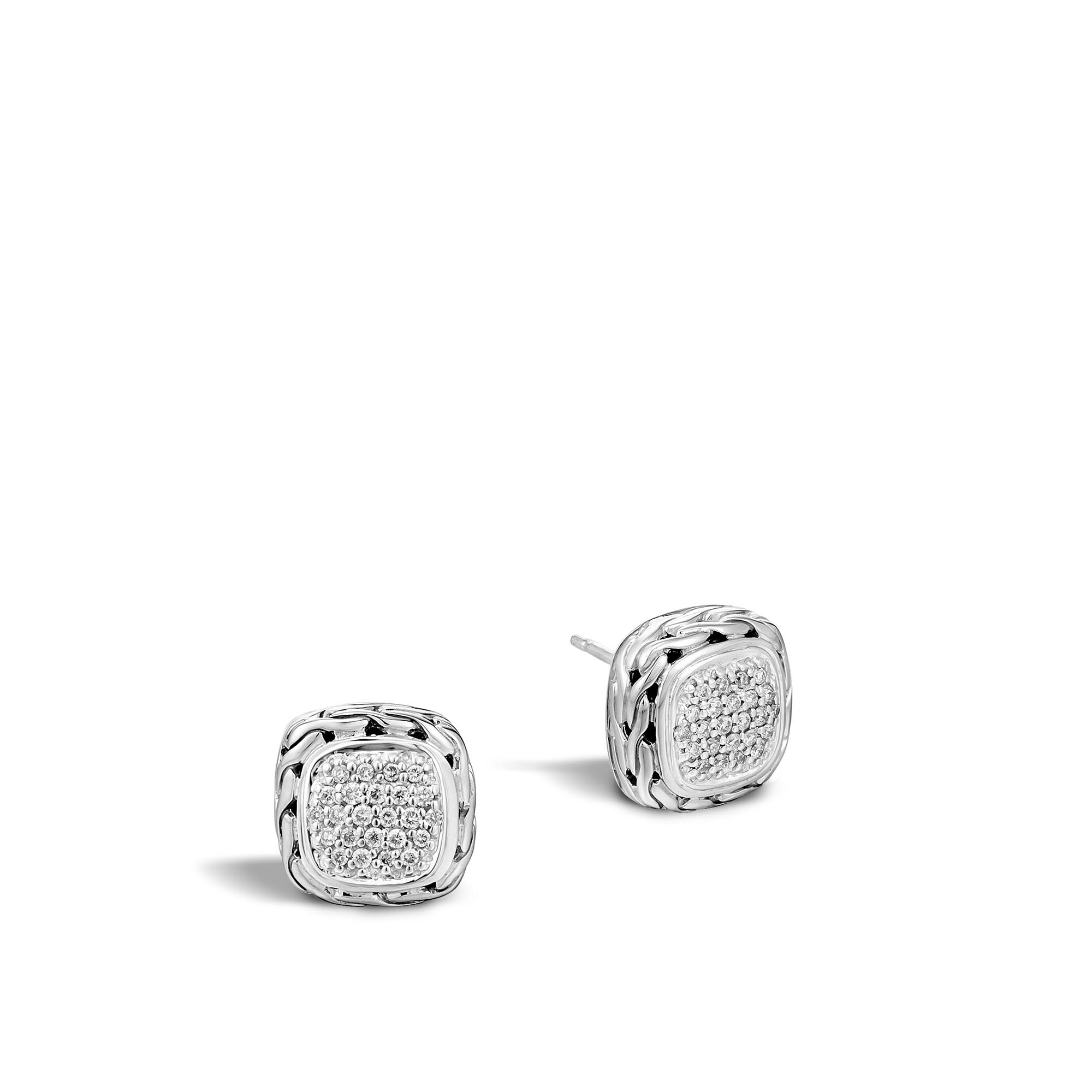 John Hardy: Sterling Silver  Classic Chain Pave Square Stud Earrings With 0.34Tw Round Diamonds