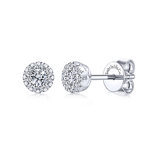 Gabriel & Co: 14 Karat White Gold Round Halo Stud Earrings With 26=0.24Tw Round Si1-2 Diamonds