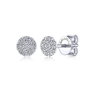 Gabriel & Co: 14 Karat White Gold Round Pave Stud Earrings With 38=0.24Tw Round Si1-2 Diamonds