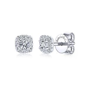 Gabriel & Co: 14 Karat White Gold Cushion Halo Stud Earrings With 26=0.27Tw Round Si1-2 Diamonds