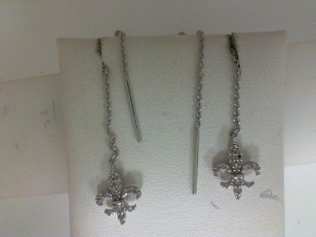 10 Karat White Gold Fleur De Lis Threader Earrings With 0.13Tw Round Diamonds