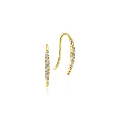 Gabriel & Co: 14 Karat Yellow Gold Pavé Diamond Ear Climber Earrings 0.10 ct