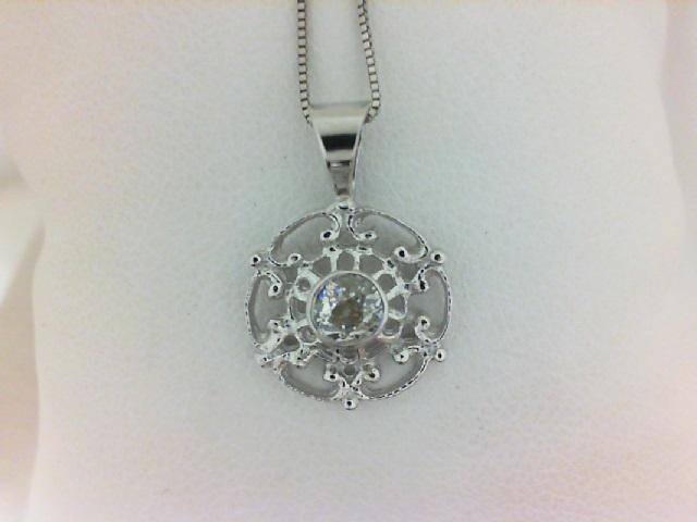 14 Karat White Gold Pendant With One Mine Cut Diamond And 0.29Tw Round Diamonds