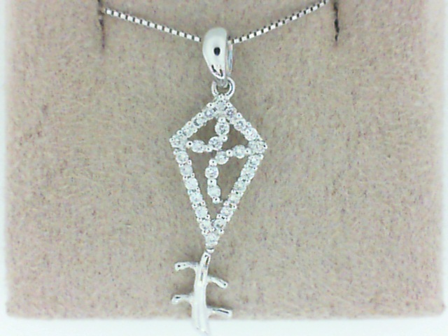 14 Karat White Gold Kite Pendant With 0.18Tw Round Diamonds On 18