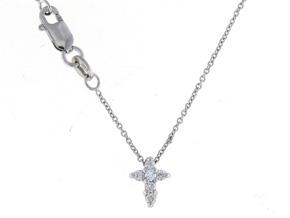 Roberto Coin: 18 Karat White Gold Tiny Treasure  Baby Cross Pendant With 0.11Cttw Round Diamonds