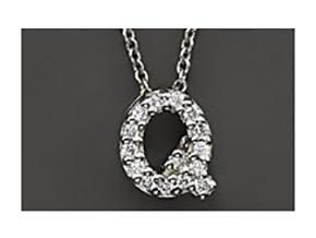 Roberto Coin: 18 Karat White Gold Love Letter Q Pendant With 15=0.08Tw Round Diamonds Length: 18