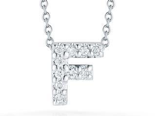 Roberto Coin: 18 Karat White Gold Love Letter F Pendant With 10=0.06Tw Round Diamonds Length: 18