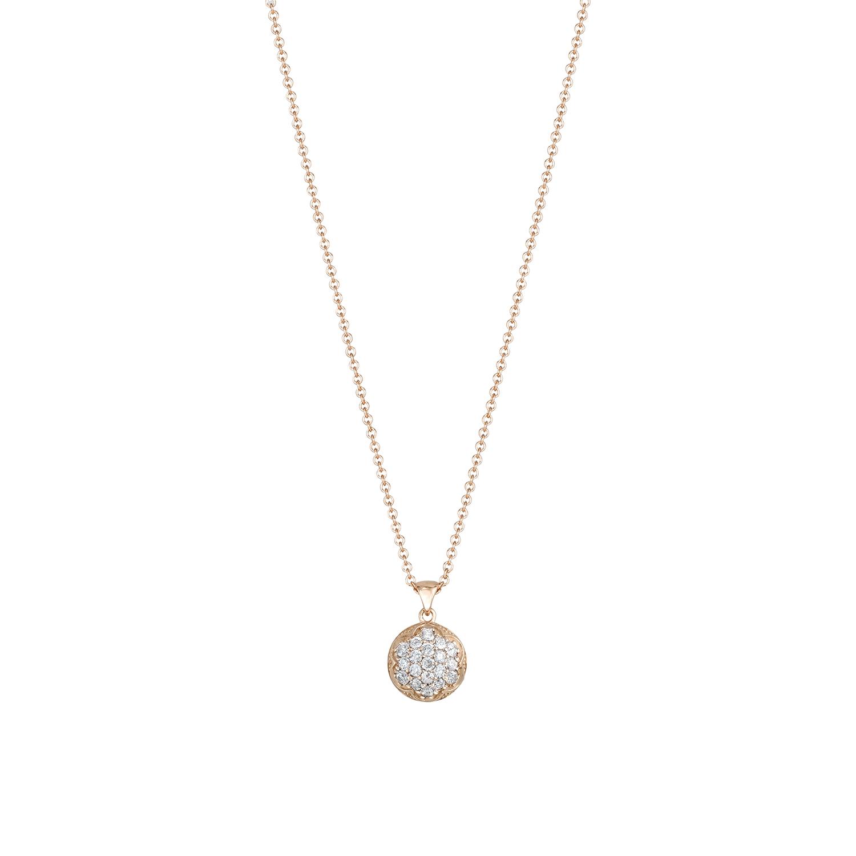 Tacori:  18 Karat Rose Gold Engraved Pendant With 0.40Tw Round Diamonds Name: Sonoma Mist- Bold Pave Dew Drop Chain: 18 Karat Rose Gold Cable Link 18