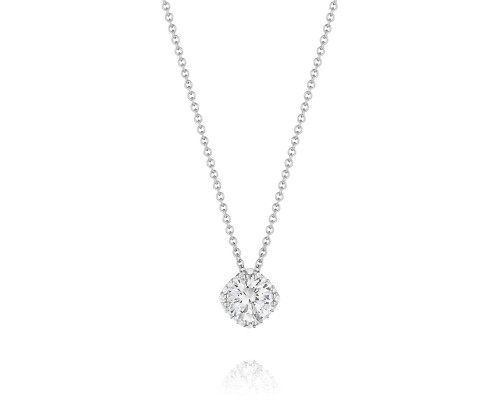 Tacori:18 Karat  White Gold Pendant With 0.08Tw Round Diamonds Chain: 18 Karat White Gold Cable Link 16-18