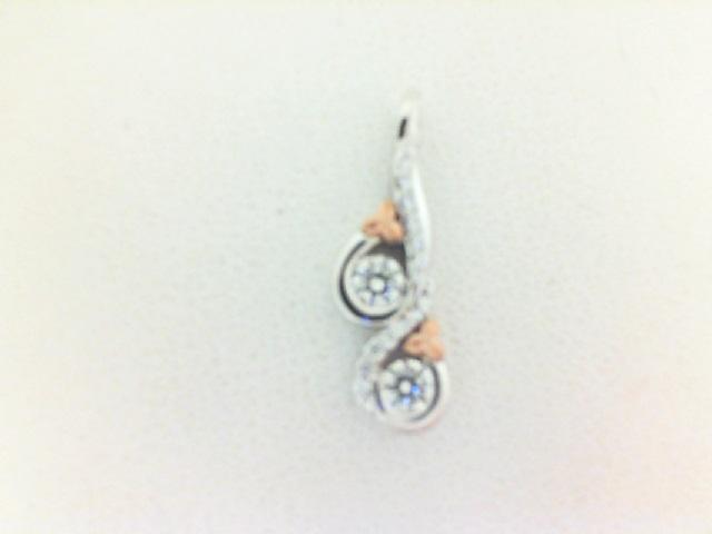 Devotion/Forevermark: 18 Karat  White/Rose Gold Pendant With One 0.12Ct Forevermarm Roundnd Diamond, One 0.12Ct Forevermark Roundnd Diamond And .06 Twt Petite Forevermark Diamonds FM2369329 FM620602