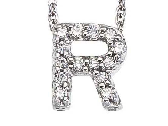 Roberto Coin: 18 Karat White Gold Love Letter  R Pendant With 14 Round G/H Si1 Diamonds At 0.06Tw  Length: 16