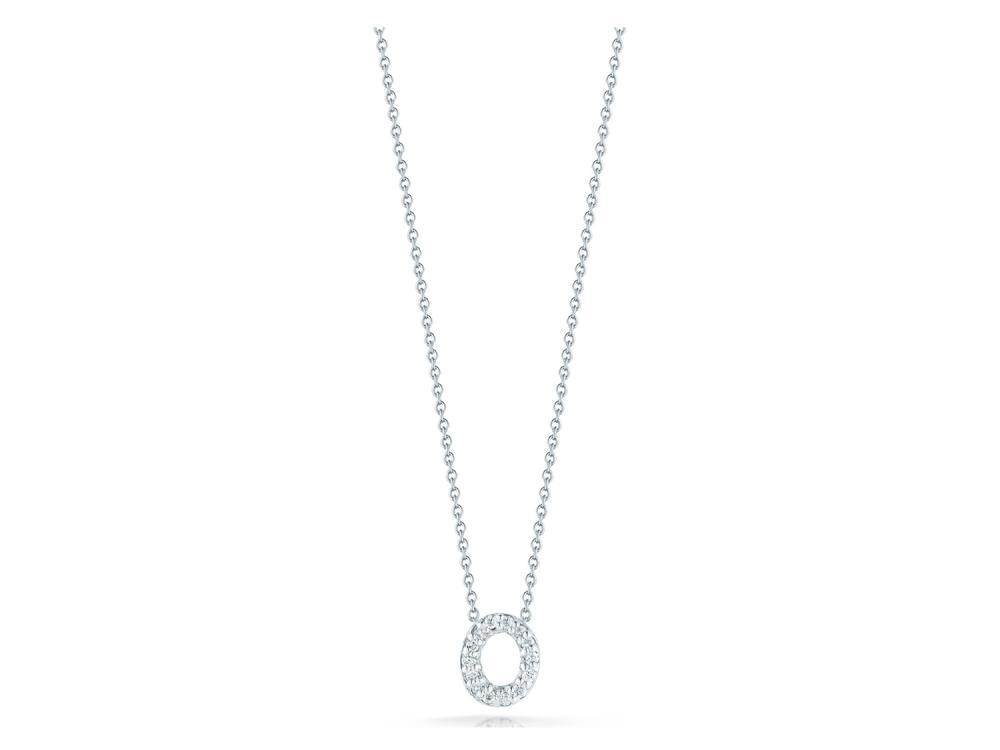Roberto Coin: 18 Karat White Gold Love Letter O Pendant With 14=0.06Tw Round Diamonds Length: 18
