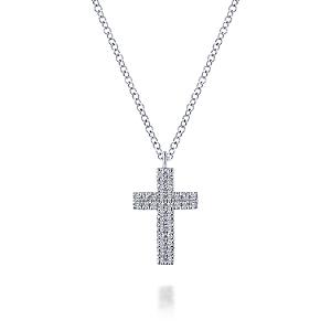 Gabriel & Co: 14 Karat White Gold Cross Pendant With 0.20Tw Round Si1-2 Diamonds Length: 17.5 Adj