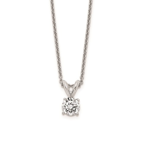 14 Karat White Gold Solitaire Pendant With One 0.05Ct Round Diamond On  Box Chain
